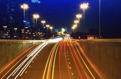 Света автомобиля ночи Стоковая Фотография