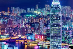 Света города Гонконга на ноче Стоковое Фото