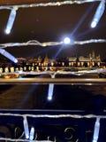 Света города Москвы и Кремль стоковое фото rf