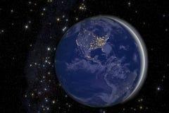 Света города на земле от космоса. Стоковое Изображение
