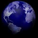 Света города на земле планеты Стоковое Фото