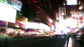 Света города Таймс площадь NYC (петля) сток-видео