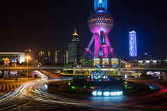 Света города Шанхая Стоковые Фотографии RF