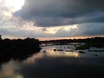 Света захода солнца Стоковая Фотография RF