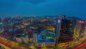 Света и движение города города Сеула акции видеоматериалы