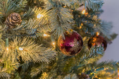 Света и орнаменты рождества Стоковое Изображение