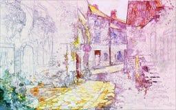 Света и тени улиц после дождя иллюстрация вектора