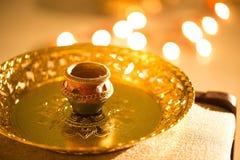 Света и diyas Diwali стоковое фото rf