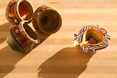 Света и diyas Diwali стоковое изображение rf