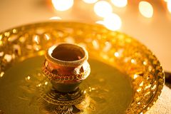 Света и diyas Diwali стоковое фото