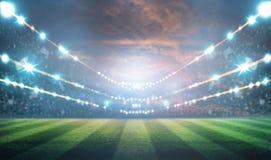 Света на ноче и стадионе 3d представляют, Стоковое Фото