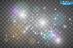 Света на прозрачной предпосылке Иллюстрация конспекта волны яркого блеска вектора белая Белый след пыли звезды сверкная Стоковые Изображения