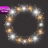 света предпосылки золотистые Концепция светов рождества также вектор иллюстрации притяжки corel Стоковое фото RF