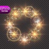 света предпосылки золотистые Концепция светов рождества также вектор иллюстрации притяжки corel Стоковые Фотографии RF