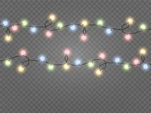 Света рождества изолировали реалистические элементы дизайна Накалять освещает для карточек праздника Xmas, знамен, плакатов, веб- бесплатная иллюстрация
