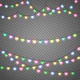 Света рождества изолированные на прозрачной предпосылке Гирлянда Xmas также вектор иллюстрации притяжки corel Стоковое Изображение