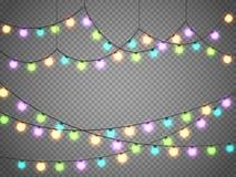 Света рождества изолированные на прозрачной предпосылке Гирлянда Xmas также вектор иллюстрации притяжки corel Стоковые Изображения