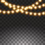Света рождества изолированные на прозрачной предпосылке Установите золотой гирлянды xmas накаляя r иллюстрация вектора