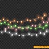 Света рождества изолированные на прозрачной предпосылке Стоковое Изображение