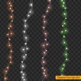 Света рождества изолированные на прозрачной предпосылке Стоковые Изображения RF