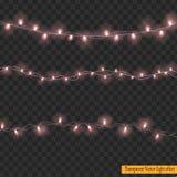 Света рождества изолированные на прозрачной предпосылке Стоковые Фотографии RF
