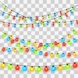 Света рождества Красочная гирлянда Xmas иллюстрация вектора