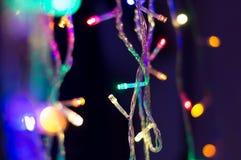 Света рождества fairy, пестротканая волоконная оптика с bokeh Стоковые Фото