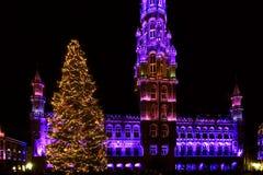 Света рождества на грандиозном месте, Брюсселе, Бельгии Стоковая Фотография