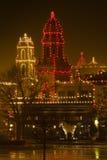 Света рождества на площади Стоковая Фотография RF