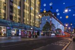 Света рождества на улице Оксфорда, Лондоне Стоковые Изображения RF