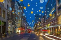 Света рождества на улице Оксфорда, Лондоне Стоковая Фотография RF