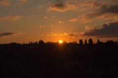 Света солнца заход солнца florence Тоскана Италия Стоковое Изображение