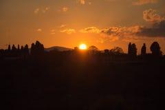 Света солнца заход солнца florence Тоскана Италия Стоковое Изображение RF