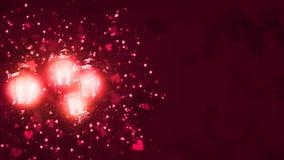 Света яркого блеска сердца Валентайн сверкная Старые винтажные уличные фонари накаляя в розовом цвете с частицами плавать сердец иллюстрация вектора