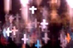 Света Bokeh сформированные как кресты Стоковая Фотография