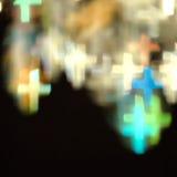 Света Bokeh сформированные как кресты Стоковые Фотографии RF