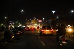 Света nighttime дороги пляжа rk Vizag стоковые фотографии rf