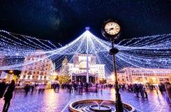 Света Timisoara рождественской ярмарки в центре Стоковые Изображения RF