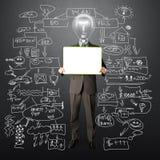 светильник удерживания карточки бизнесмена счастливый головной Стоковое Изображение