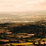 светит заход солнца Великобританию вэльс национального парка brecon Стоковая Фотография RF