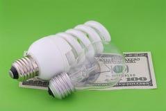светильник зеленого цвета 100 долларов предпосылки электрический люминисцентный Стоковое фото RF