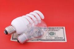светильник зеленого цвета 100 долларов предпосылки электрический люминисцентный Стоковое Изображение RF