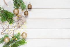 Светлая деревянная предпосылка рождества Стоковые Изображения RF