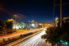 Светлая улица - город Korat 2016 Nakhon Ratchasima Стоковые Изображения RF