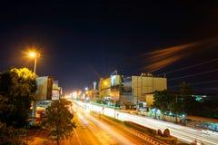Светлая улица - город Korat 2016 Nakhon Ratchasima Стоковое Изображение