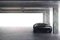 Светлый гараж с автомобилем бесплатная иллюстрация