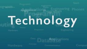 Светлый - голубая предпосылка с различными словами, которые общаются с технологией r r 3d Animatiom 4K бесплатная иллюстрация