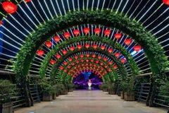 Светлый фестиваль тоннеля весной Стоковые Фото
