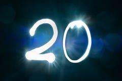 20 светлых год годовщины номера блеска искры стоковые изображения rf