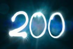 200 светлых год годовщины номера блеска искры стоковые изображения rf